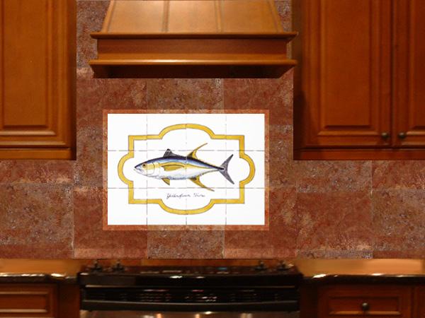 fish tile backsplash in kitchen