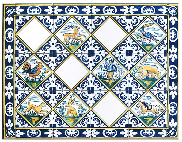 Painted Delft Tiles Hunting By Bettina Elsner