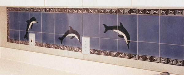 Hand painted dolphin tile mural by hand painted tile for Dolphin tile mural