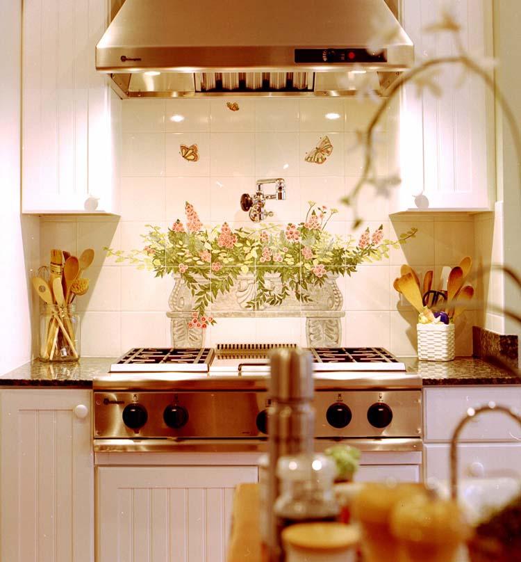 Flower Kitchen Backsplash hand Painted by Bettina Elsner